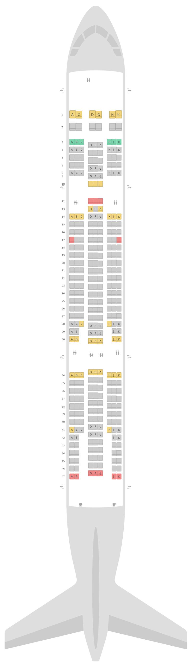 Mapa de asientos Airbus A330-200 (332) v2 Air Transat