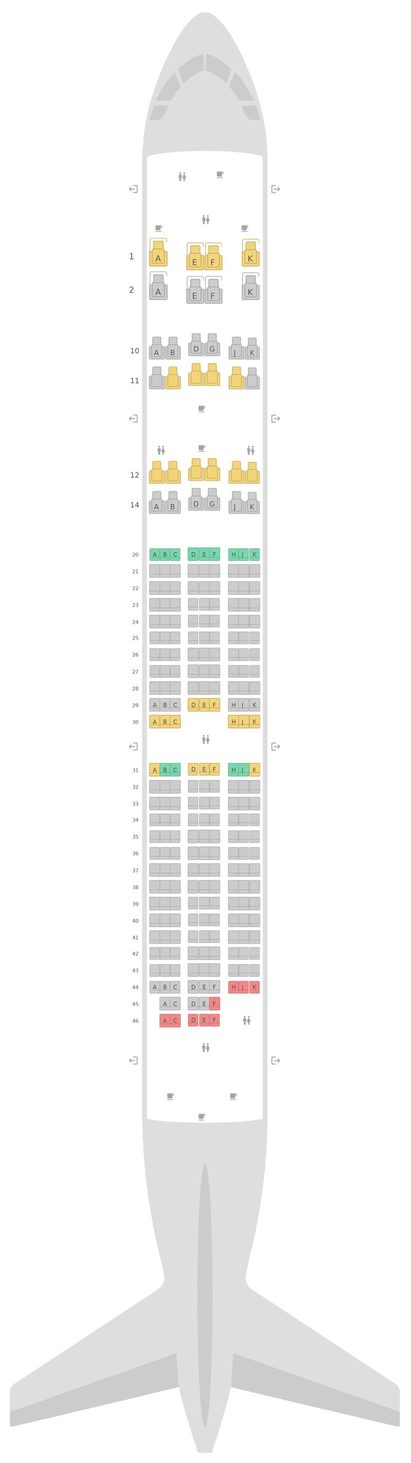 Схема салона Боинг 787-9 (789) 3 Class Оман Эйр