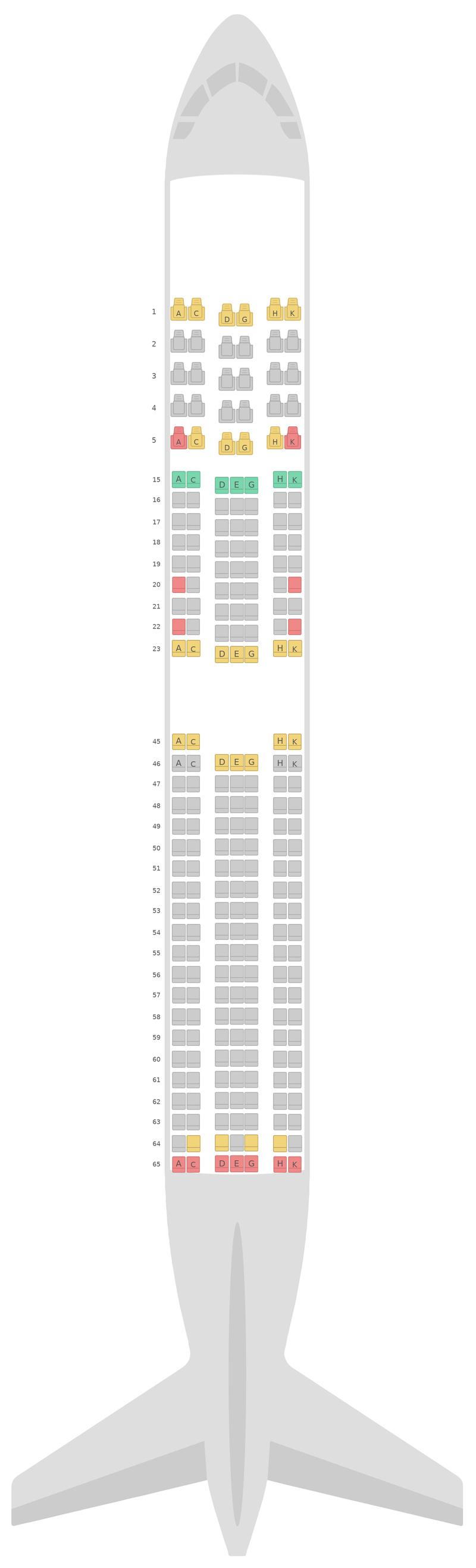 Mapa de asientos Boeing 767-300ER v3 Japan Airlines (JAL)