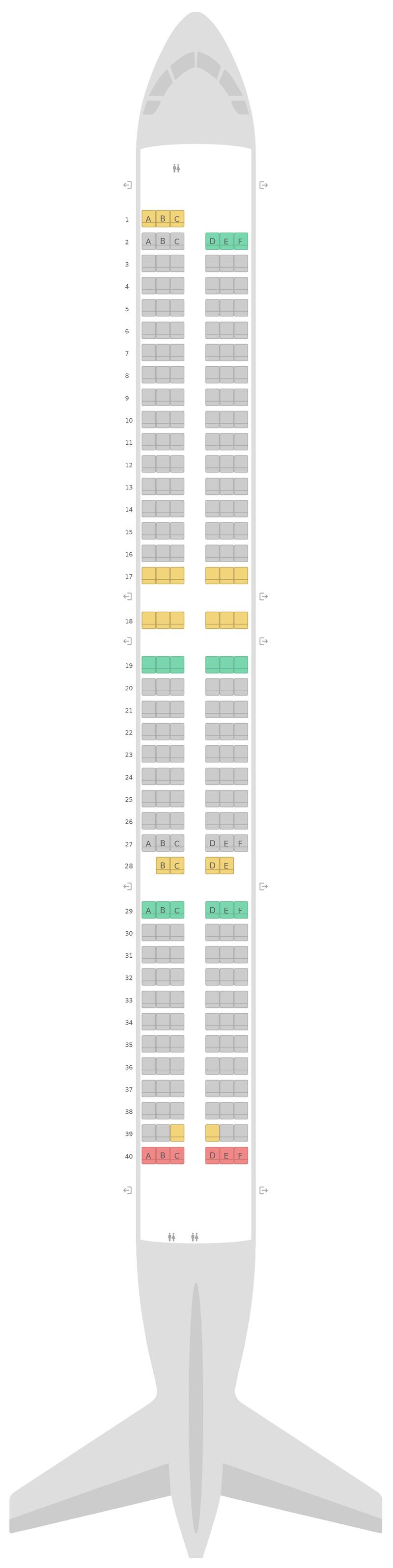 Схема салона Аэробус А321 EasyJet
