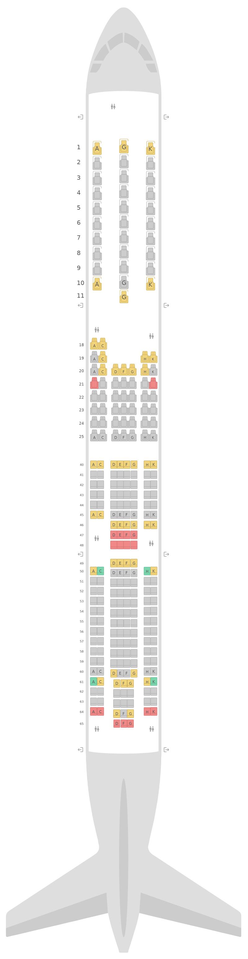 Seat Map Virgin Atlantic Airbus A330-300 (333)