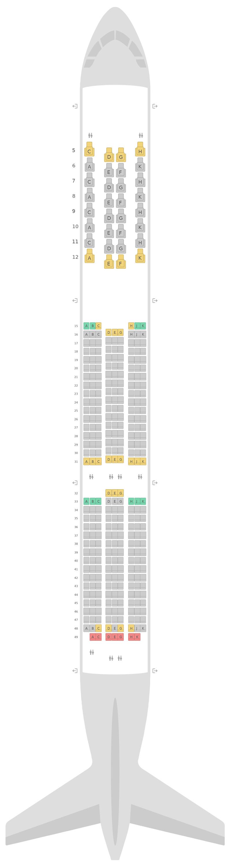 Схема салона Боинг 787-10 Этихад