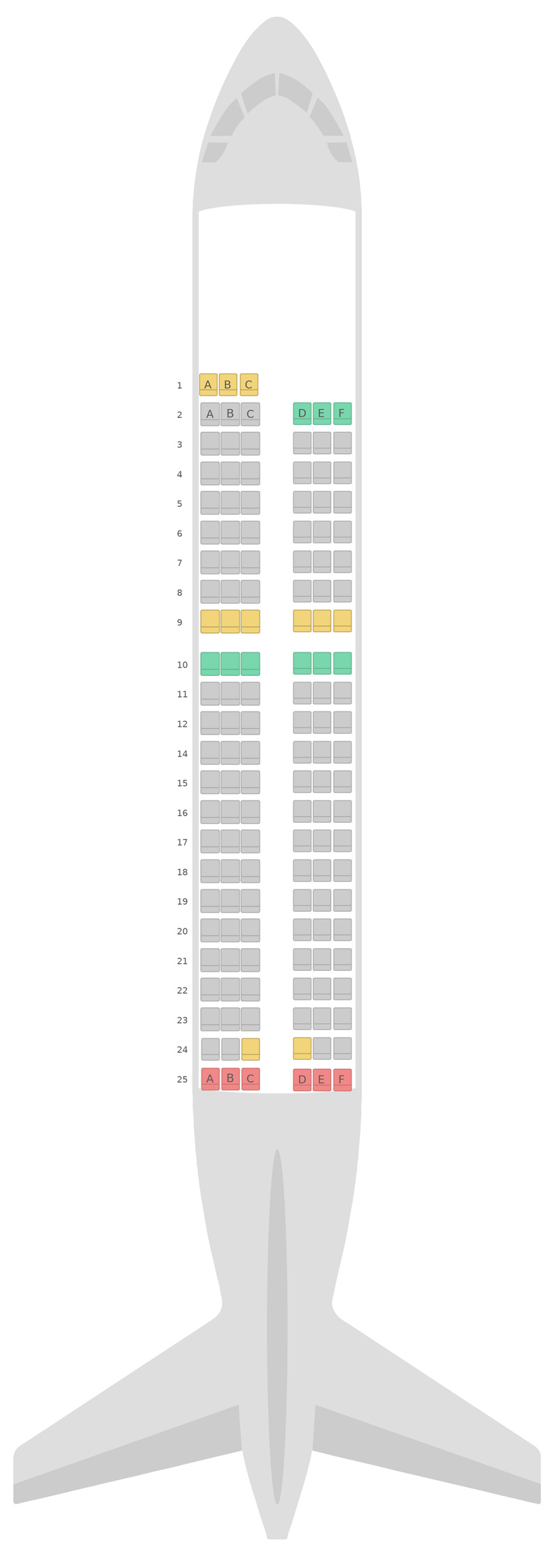 Mapa de asientos Airbus A319 Scandinavian Airlines (SAS)