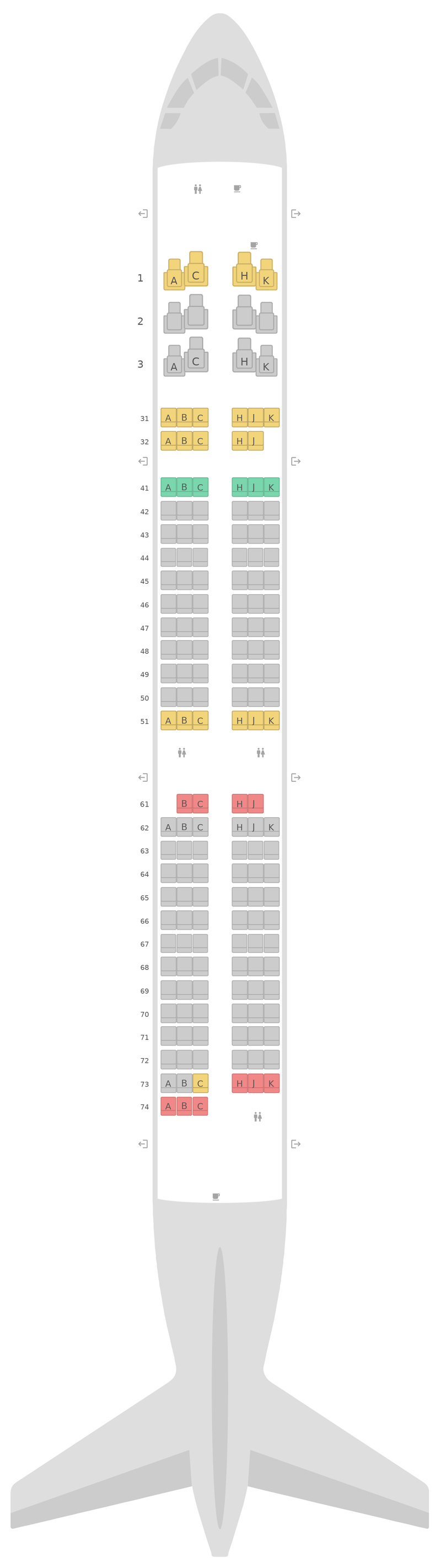 Seat Map Philippine Airlines (PAL) Airbus A321neo v1