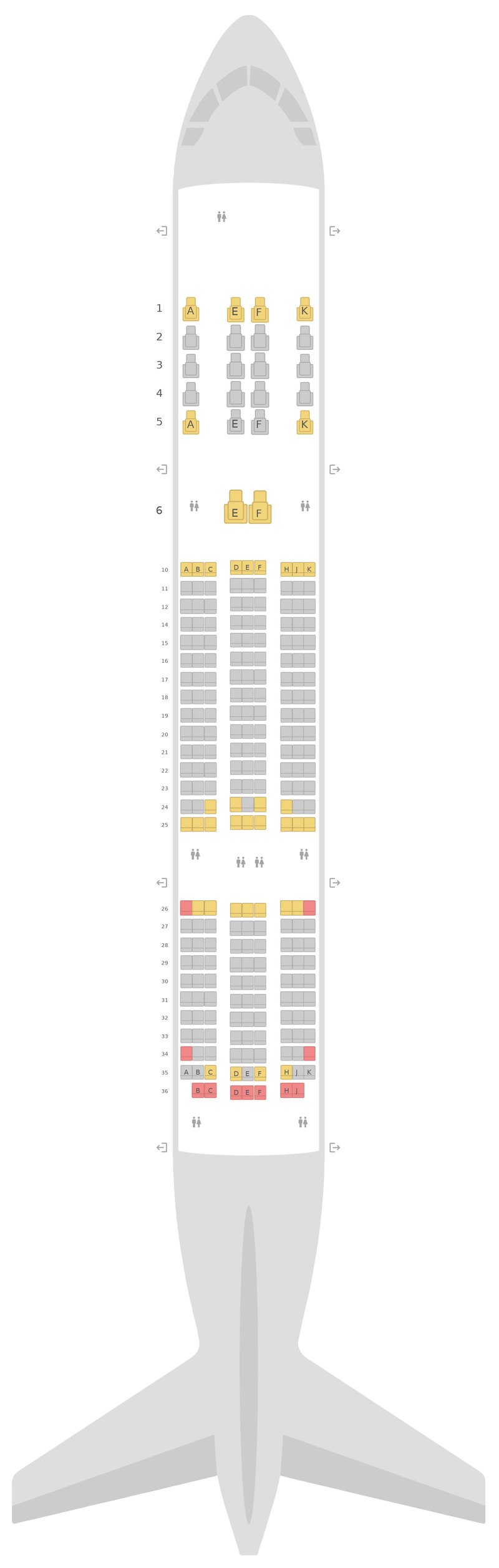 Mapa de asientos Boeing 787-8 (788) Qatar Airways