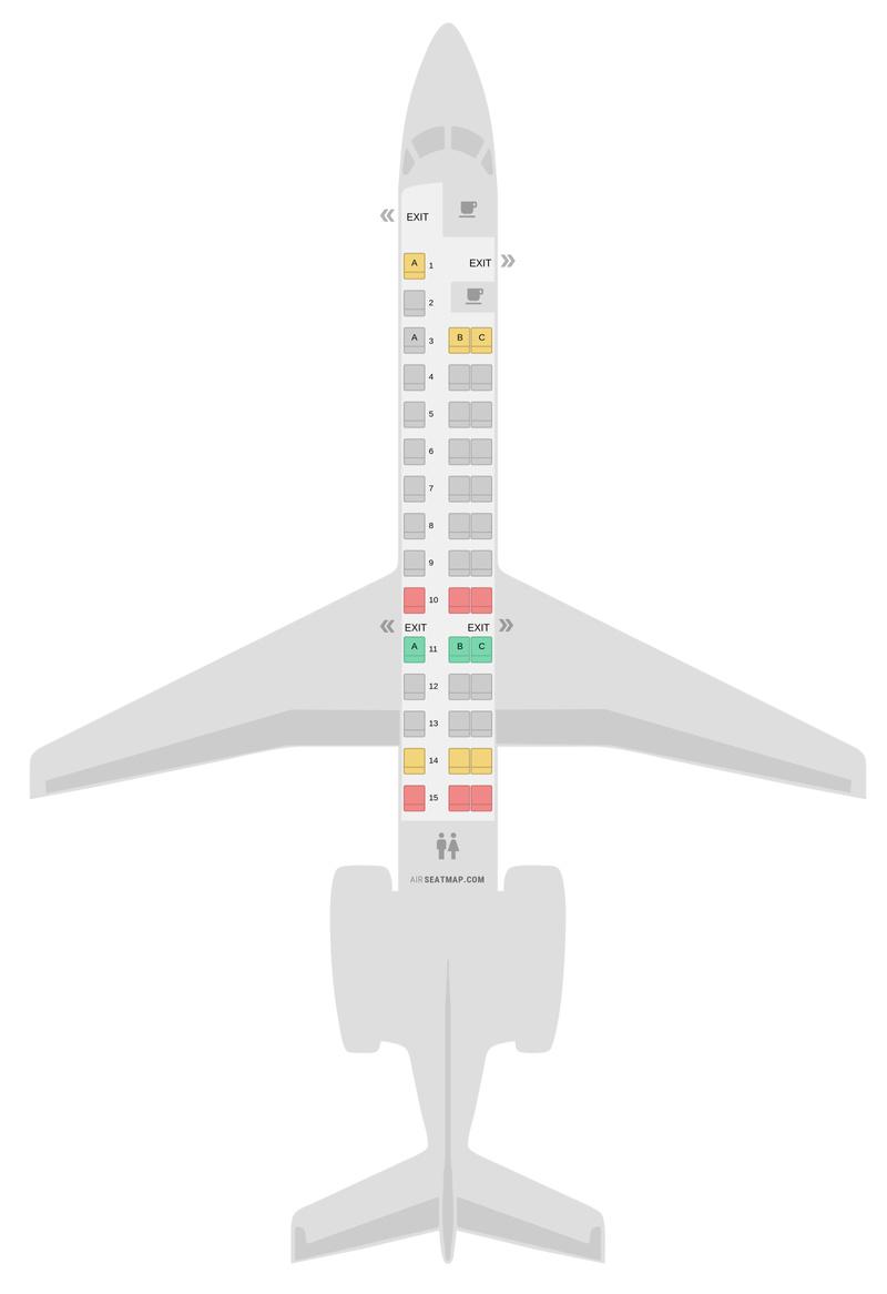 Схема салона Эмбраер 140 (ERD) Американские авиалинии