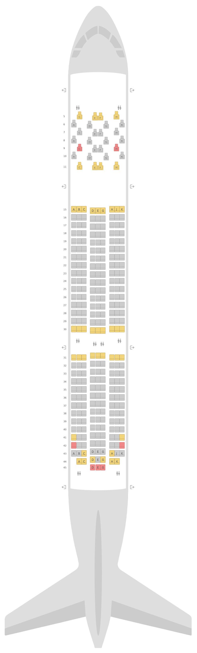 Seat Map Boeing 787-9 (789) 2 Class Etihad Airways