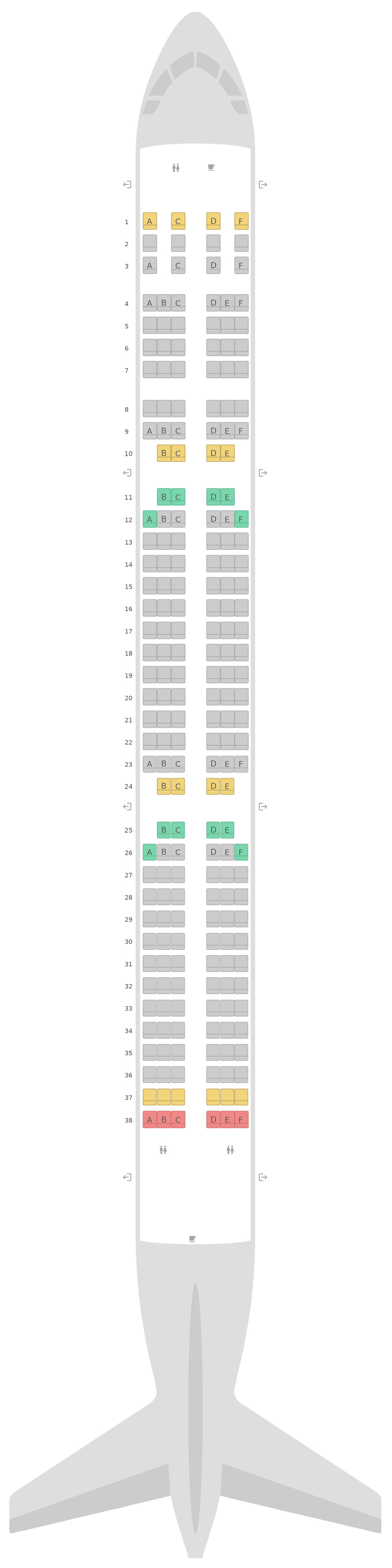 Seat Map LATAM Airbus A321