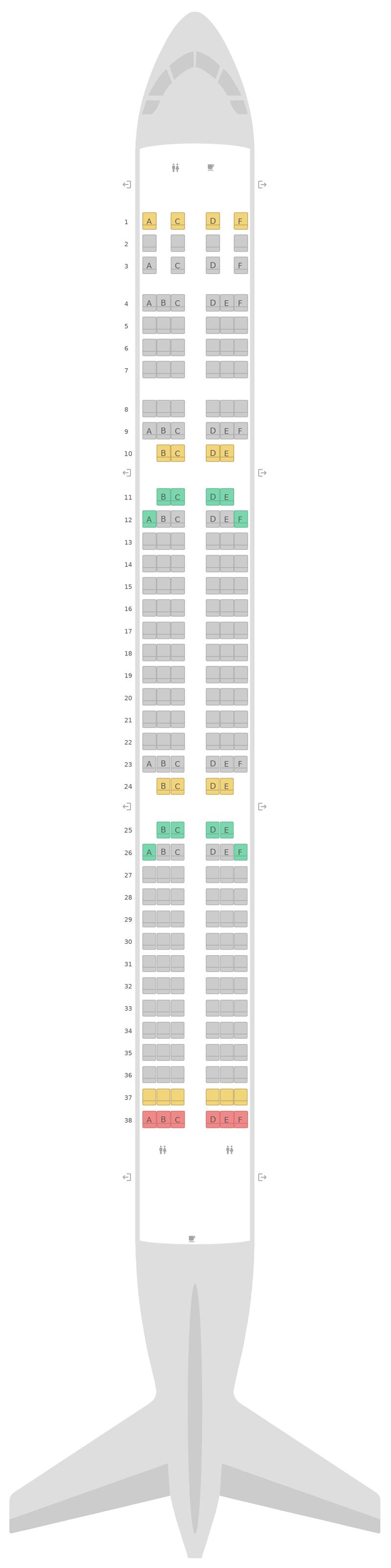 Схема салона Аэробус А321 LATAM