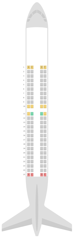 Seat Map Finnair Embraer E190 (E90)