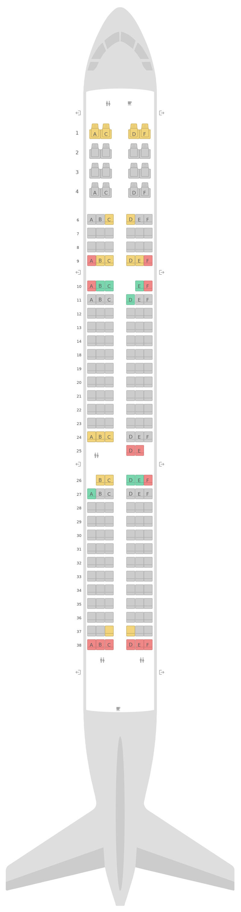 Seat Map Alaska Airlines Airbus A321neo v2