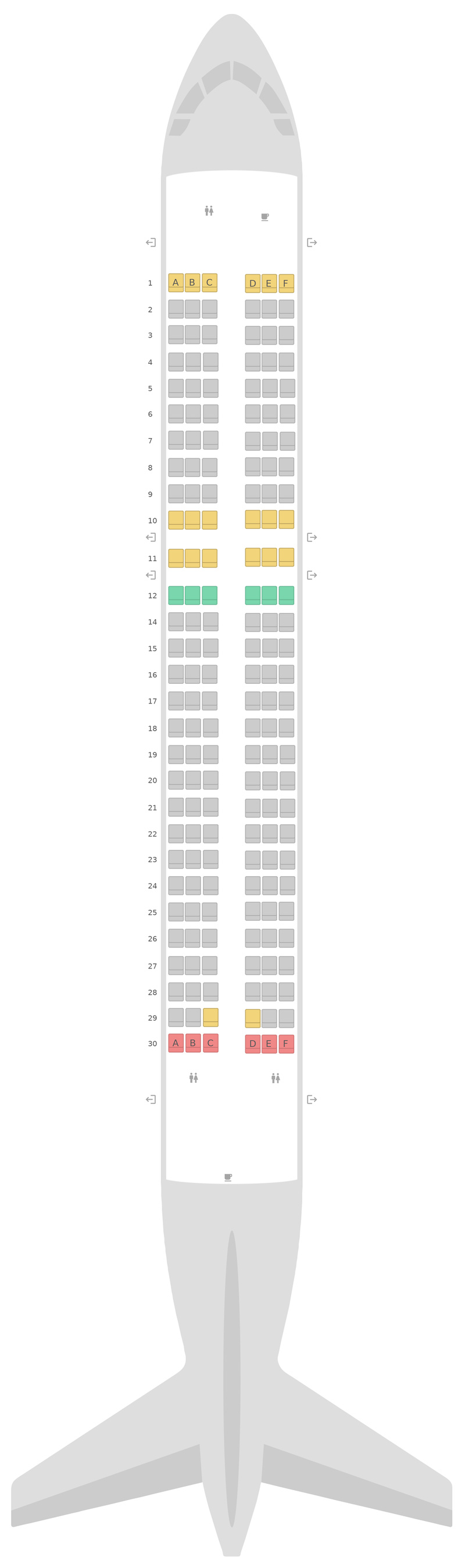 Seat Map Aegean Airlines Airbus A320