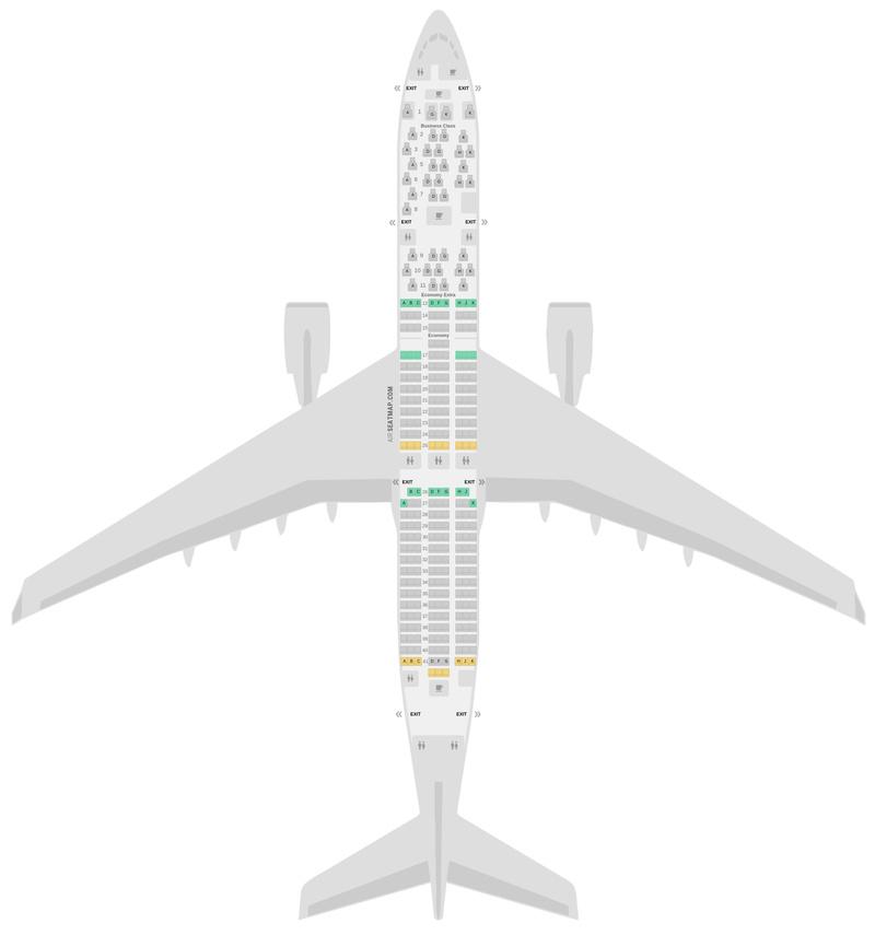 Схема салона Аэробус А350-900 (359) Малазийские авиалинии