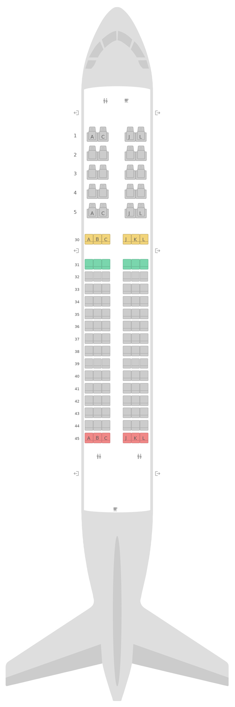 Mapa de asientos Airbus A320 v3 Saudi Arabian Airlines