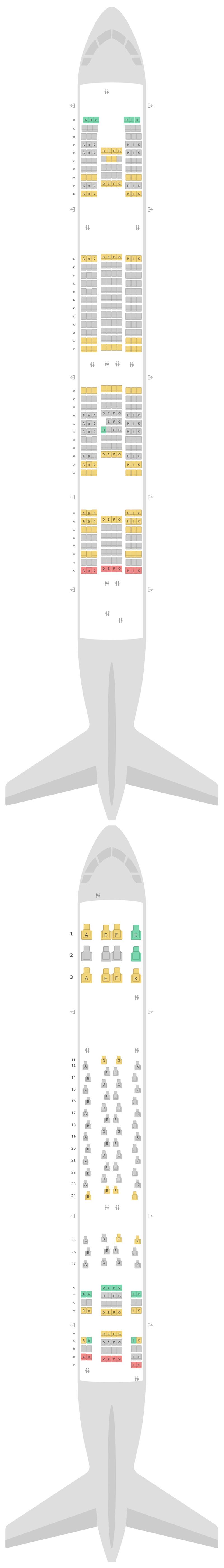 Sitzplan Airbus A380-800 (388) Thai Airways