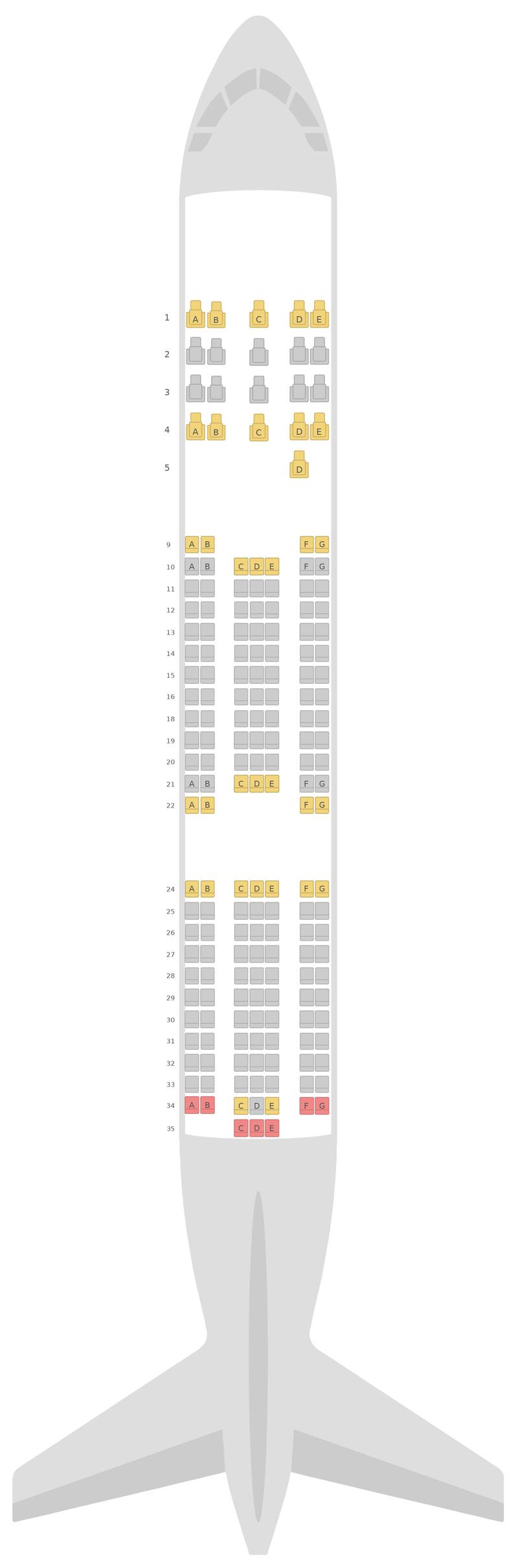 Схема салона Боинг 767-300 (763) Азербайджанские авиалинии