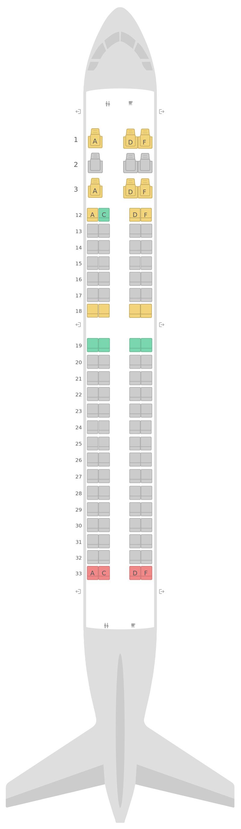 Mapa de asientos Embraer E190 (E90) Air Canada