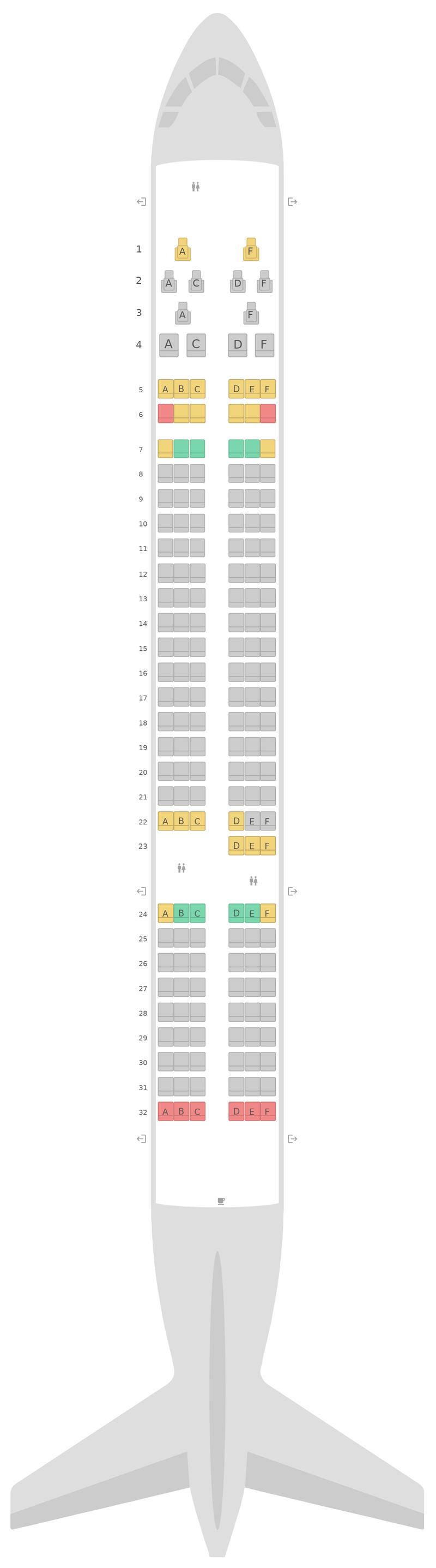 Схема салона Боинг 757-200 (752) Aer Lingus