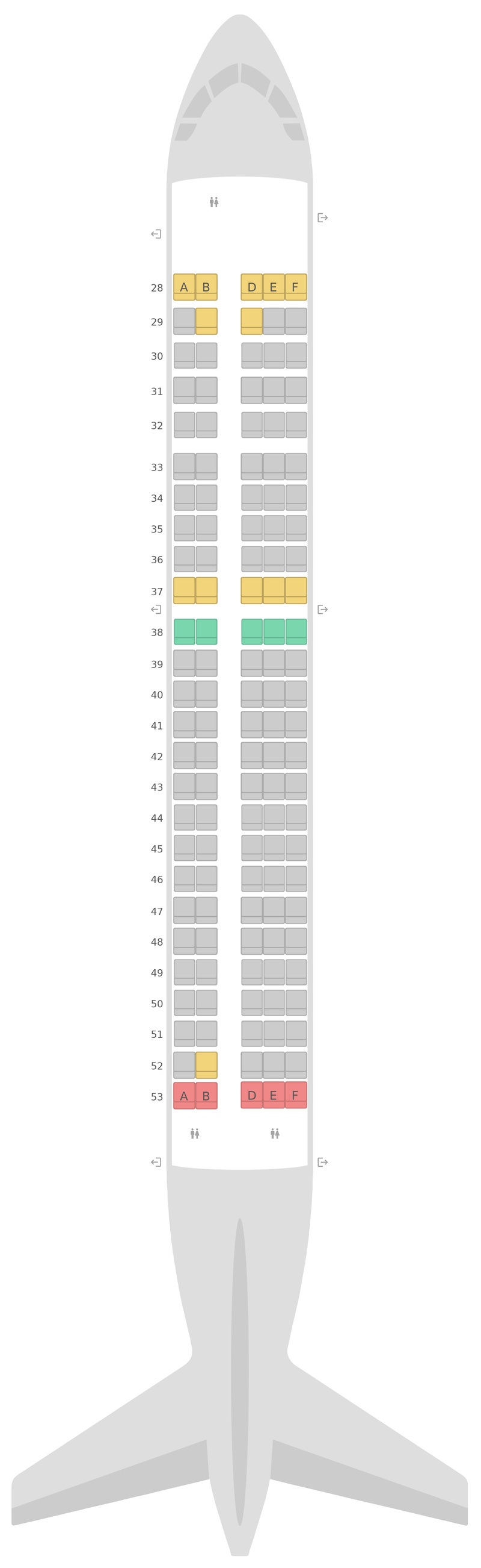 Mapa de asientos Airbus A220-300 Korean Air