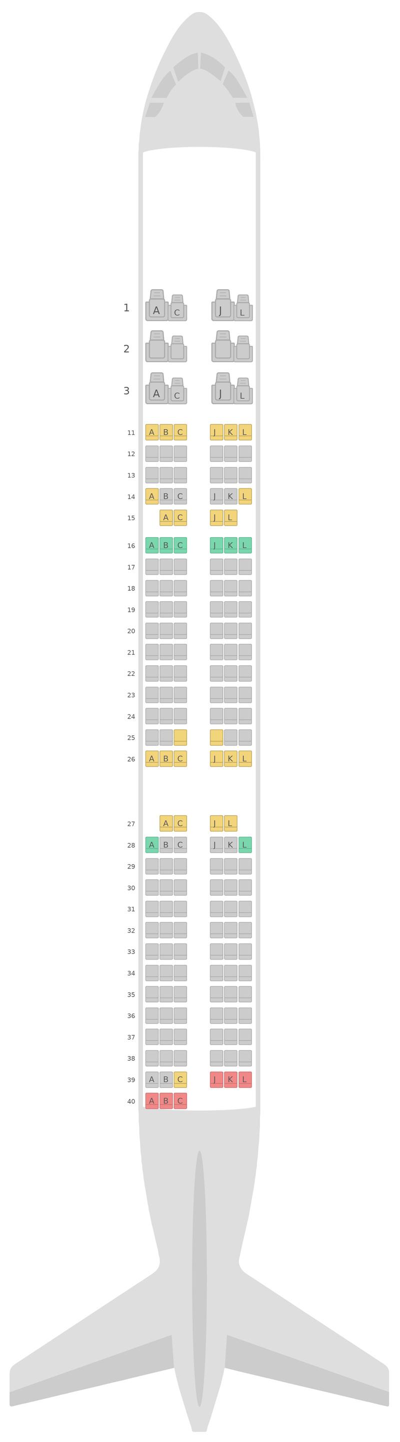 Mapa de asientos Airbus A321 v1 Air China