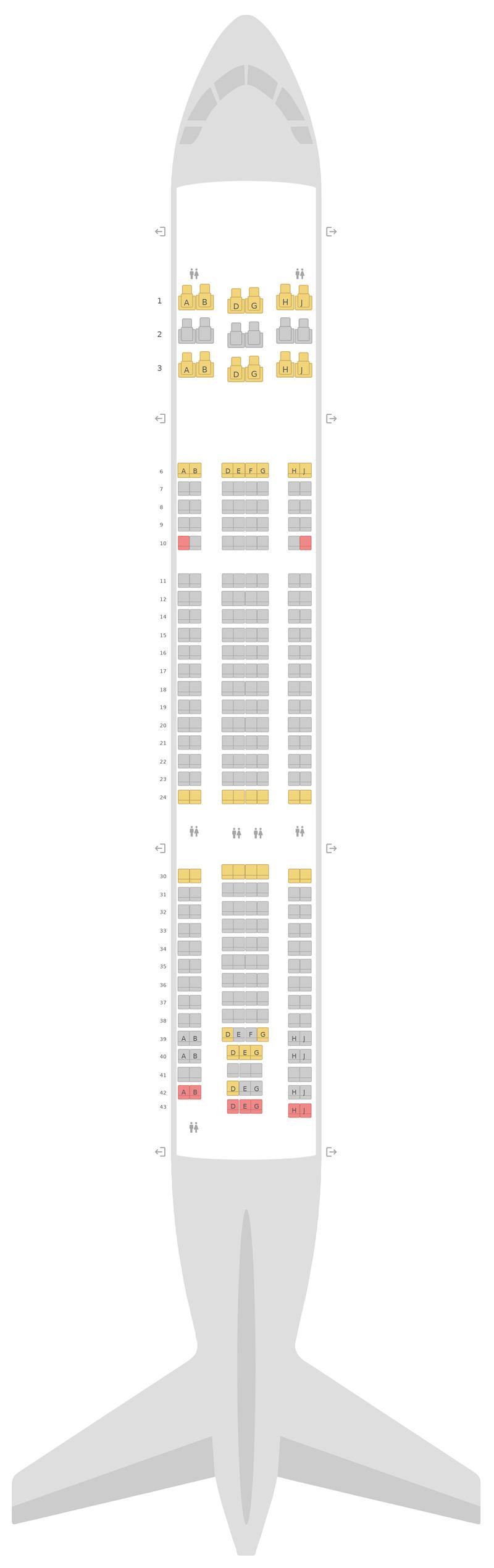 Схема салона Аэробус А330-200 (332) KLM