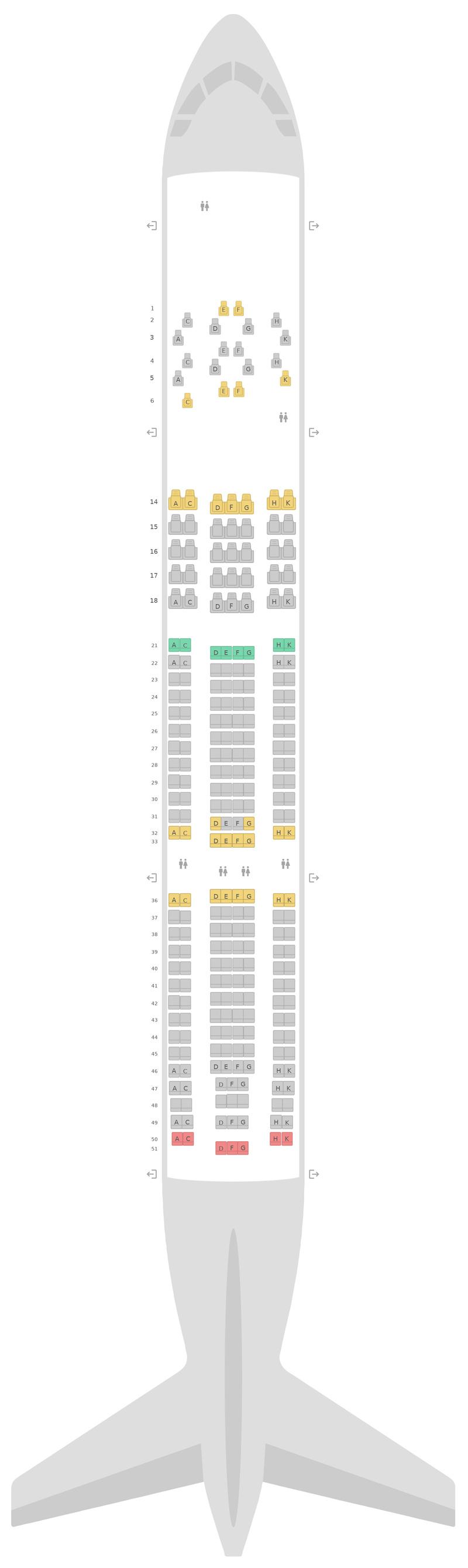 Seat Map Virgin Atlantic Airbus A330-200 (332)