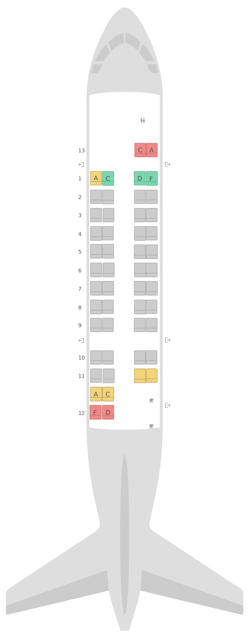 Mapa de asientos de Havilland Dash 8-300 (DH3) Air Canada