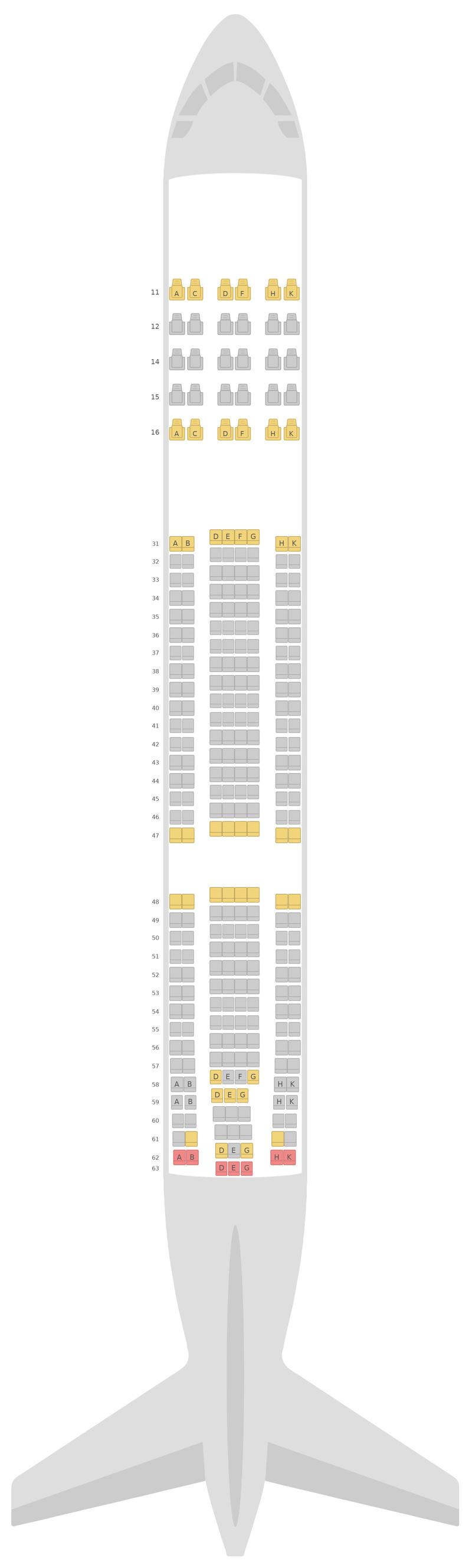 Схема салона Аэробус А330-300 (333) v2 Hong Kong Airlines