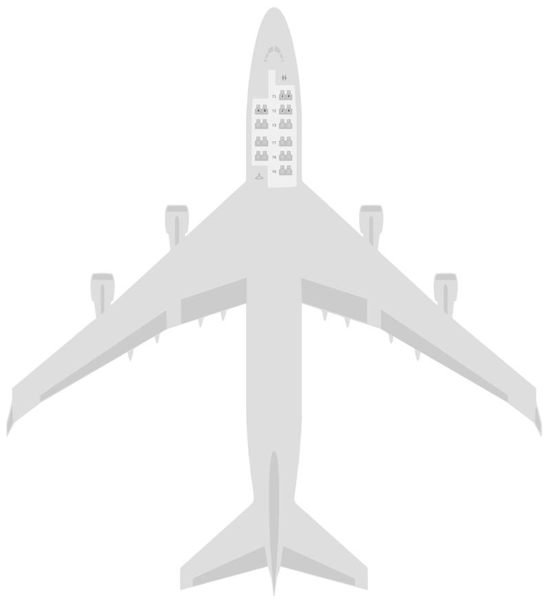 Mapa de asientos Boeing 747-400 (744) Combi KLM