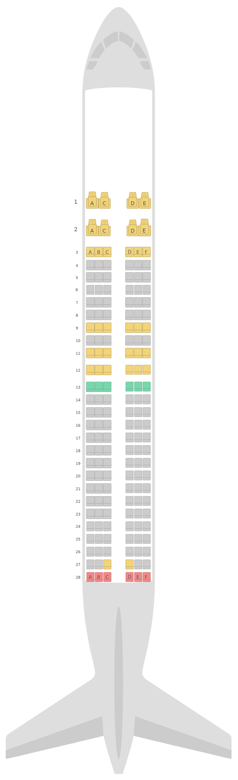Seat Map Hainan Airlines Boeing 737-800 (738)