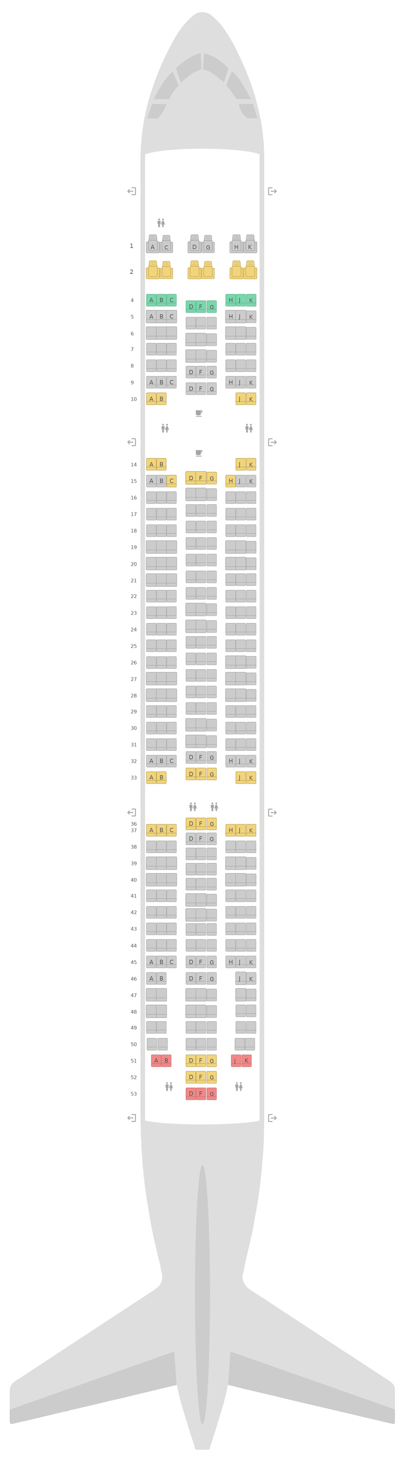 Seat Map Air Transat Airbus A330-300 (333) v1