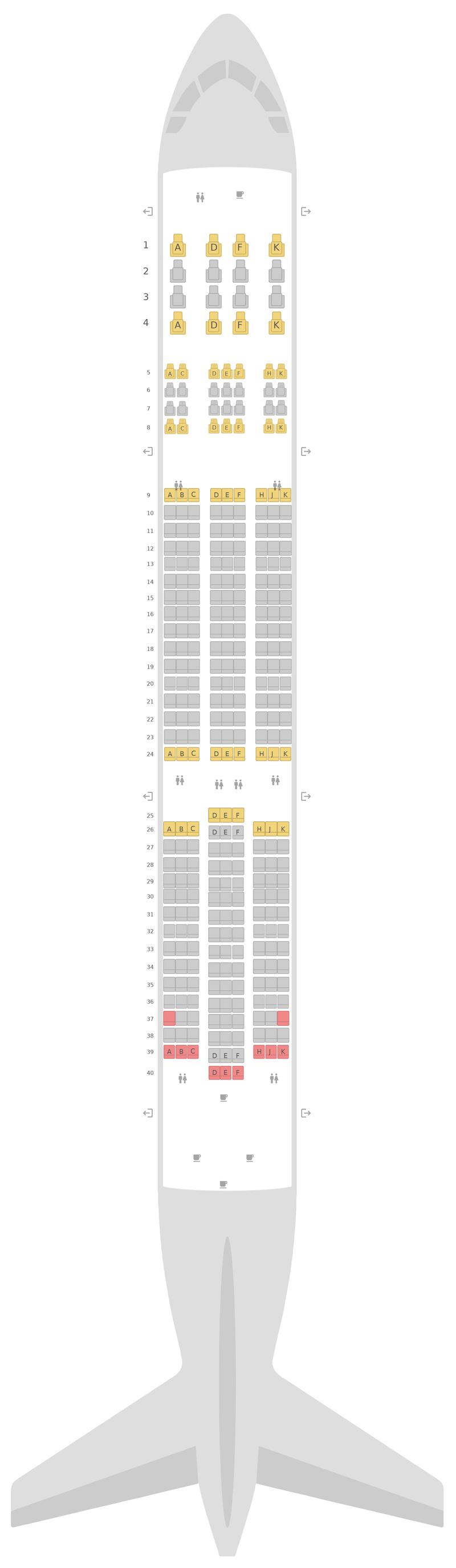 Схема салона Боинг 787-9 (789) WestJet