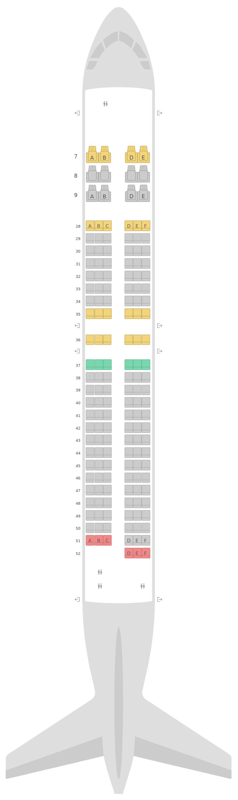 Mapa de asientos Boeing 737-900ER (739) Korean Air