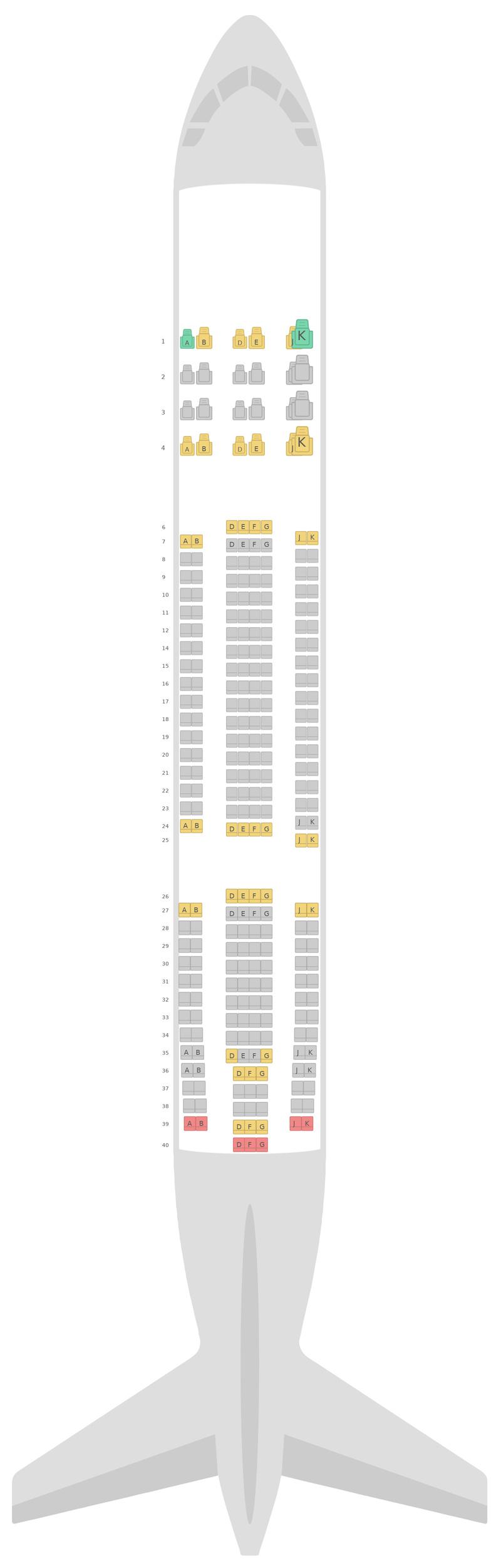 Sitzplan Airbus A330-200 (332) Fiji Airways