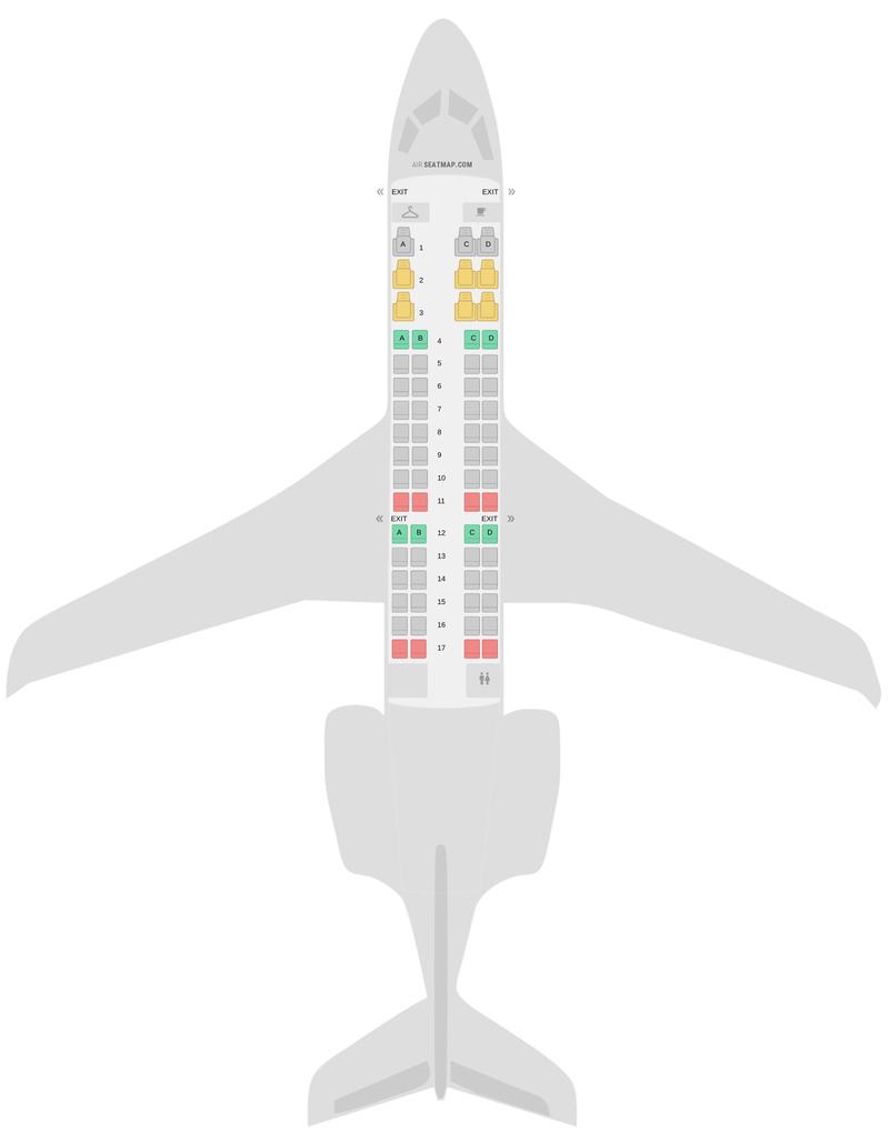 Mapa de asientos Bombardier CRJ700 (CR7) v3 American Airlines