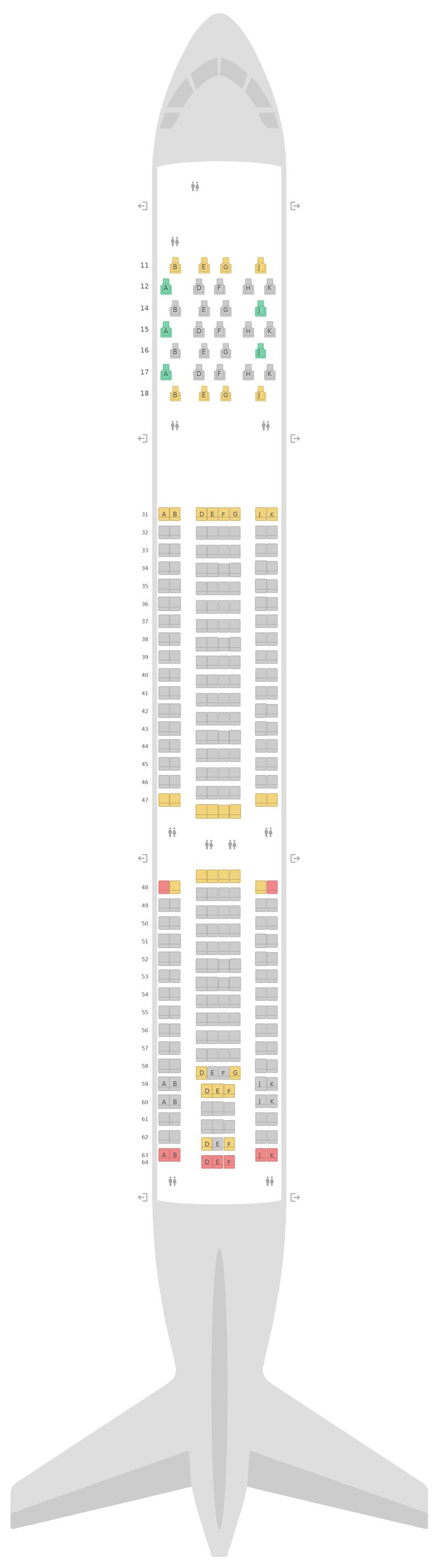 Seat Map Thai Airways Airbus A330-300 (333) v1