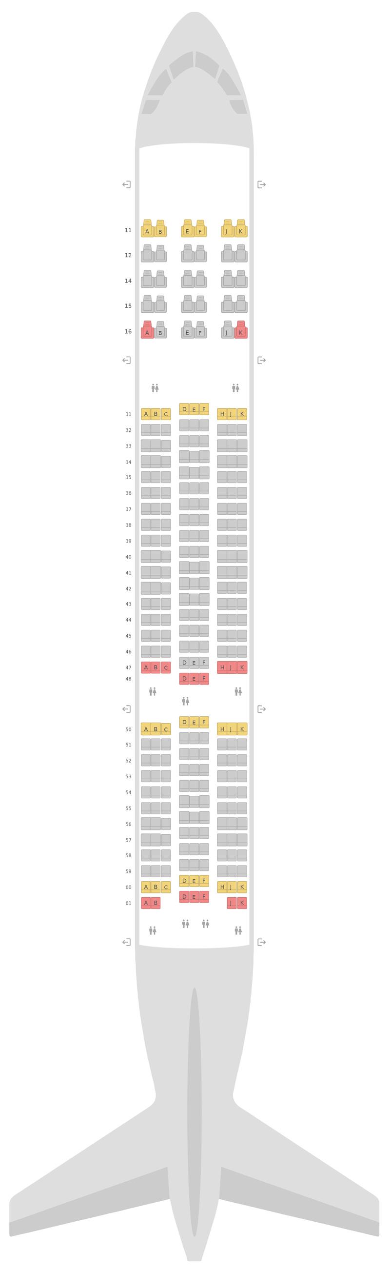 Схема салона Боинг 777-200ER Тайские авиалинии