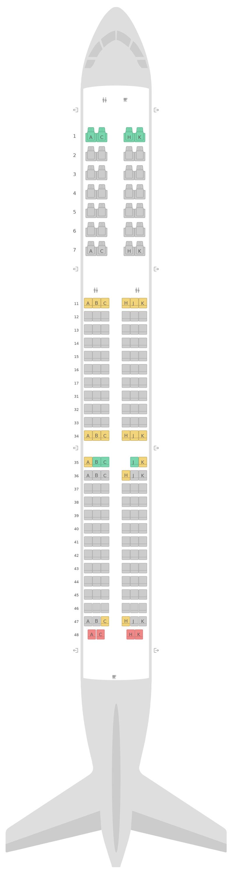 Sitzplan Airbus A321neo Air Astana