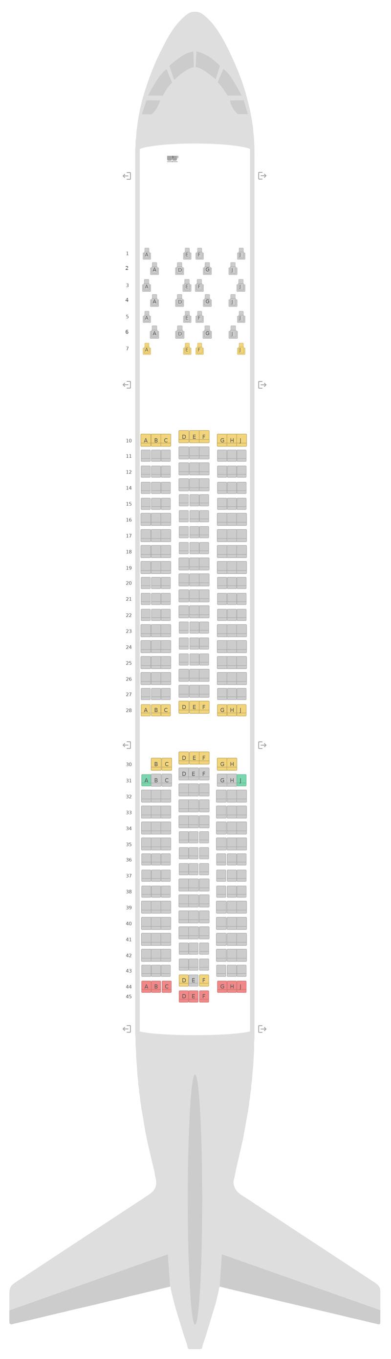 Схема салона Аэробус А350-900 (359) Эйр Маврикий