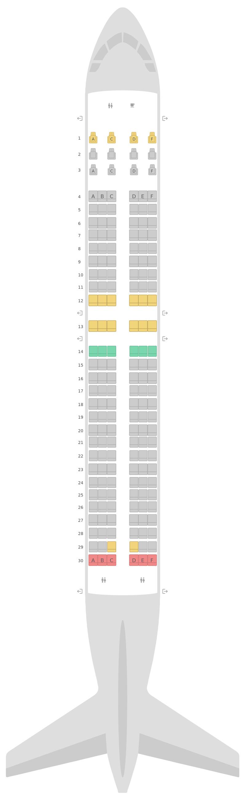 Seat Map WestJet Boeing 737 MAX (7M8)