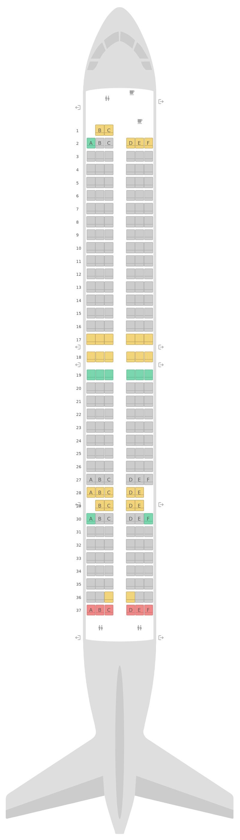 Seat Map Ukraine International Airlines Boeing 737-900ER (739)