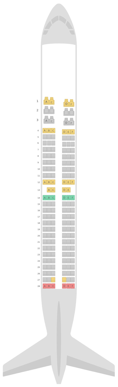 Схема салона Боинг 737-800 (738) S7 Airlines