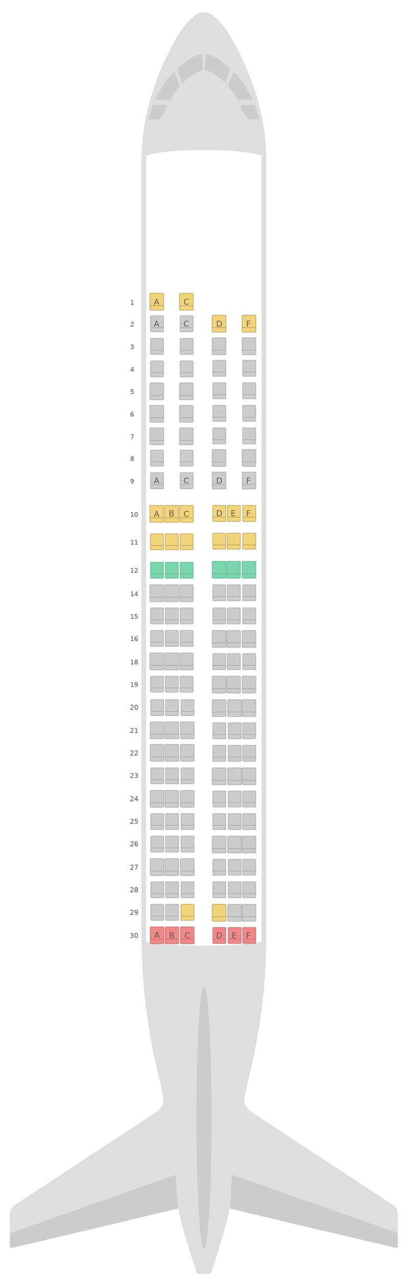 Схема салона Аэробус А320 2 Class Алиталия