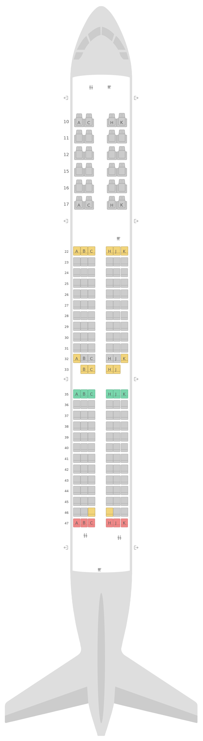 Seat Map Cathay Dragon (Dragonair) Airbus A321