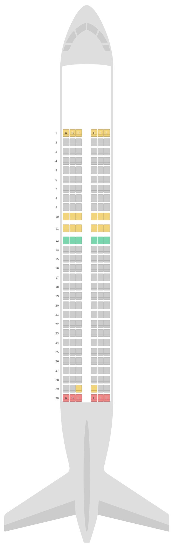 Seat Map Scandinavian Airlines (SAS) Airbus A320neo (32N)