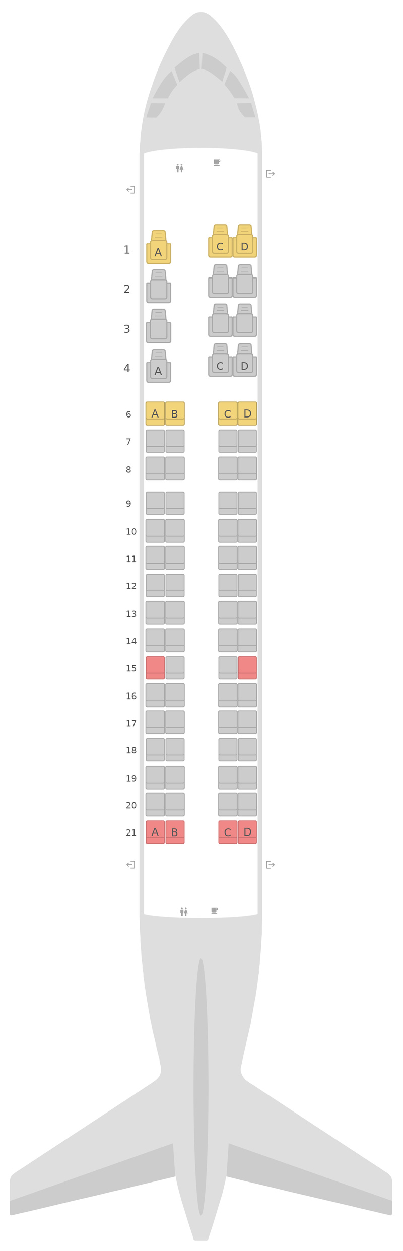 Seat Map Alaska Airlines Embraer E175 (E75)
