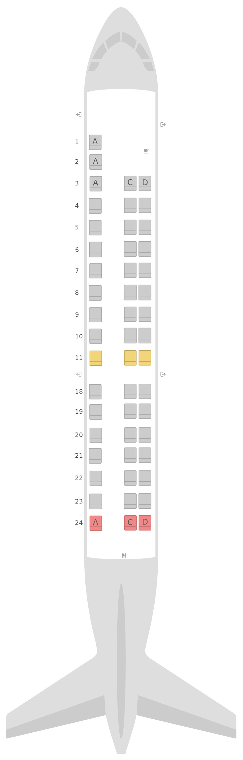 Seat Map United Embraer E145 (ER4)