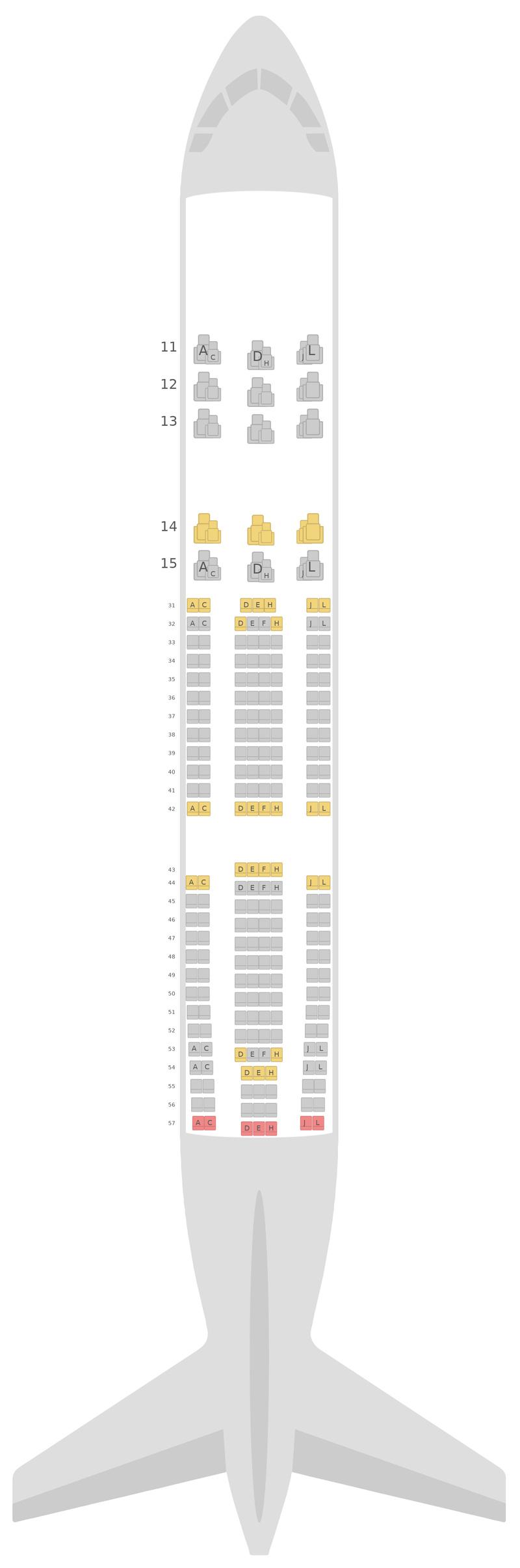 Схема салона Аэробус А330-200 (332) v1 Эйр Чайна