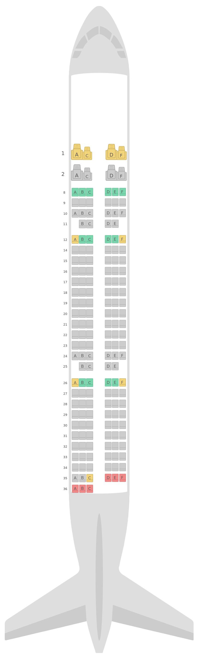 Sitzplan Airbus A321 Gulf Air