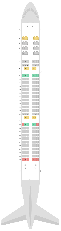Seat Map Airbus A321 Etihad Airways